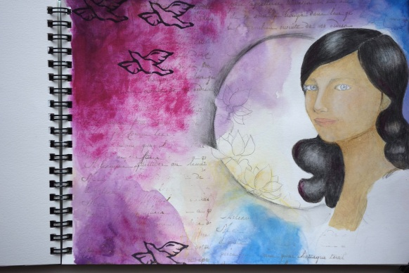 Art journal mixed media portrait